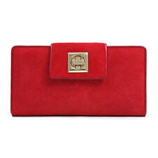 Women's Suede & Genuine Leather Checkbook Wallet with Twist Lock Closure - Red