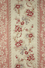 Vintage French curtain old Faded floral + Stripe pink blue c1910  Biedermeier