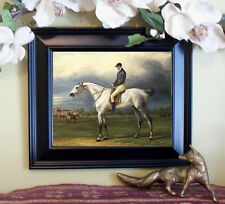 Vernet GRAY RACE HORSE Thoroughbred Horse Vintage Styl Framed 11X13 Print