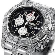 Diamond Breitling Super Avenger A13370 Black Dial Watch 2 Row Diamond Bezel