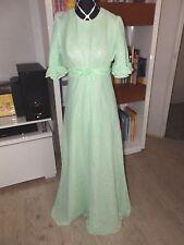 superbe robe de soirée verte pur & vrai vintage années 70, voile transparent T38