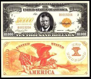 1920 UNITED STATES ROOSEVELT SERIES USA $10,000 DOLLARS UNC NOVELTY MONEY