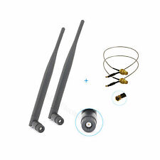 2 x 6dBi RP-SMA Dual Band 2.4GHz/5GHz Wifi Antenna + 2 x 30cm U.fl Cable Antenna