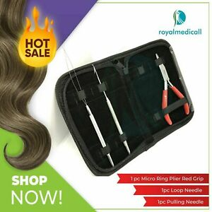 Micro Rings Hair Extensions Straight Nose Pliers & Loop/ Pulling Needle Kit