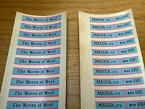 Matchbox 5 London Bus (20 PAIRS OF BARON OF BEEF DECALS X/RARE & GENUINE)