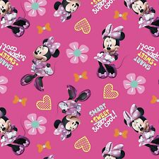 Disney Minnie Pink Smart Sweet Super Cool 100% Cotton fabric by the yard