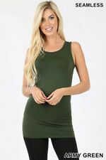 Womens Extra Long Tank Top Seamless Basic Tunic Stretch Bodycon Mini Dress Slip