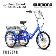 "Progear Adult Tricycle Trike 6-speed 20"" Vintage Cruiser Style 3 Wheel Bike Blue"