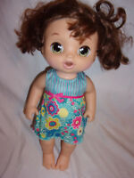 Baby Alive Sweet Tears Baby Brown Hair Brunette Cries Speaks Bi-lingual Doll 15""