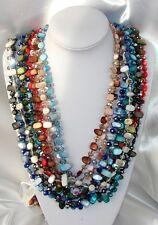 Collana Lunga 130cm  Madreperla pietre Dure,perle cristalli da donna,10 colori