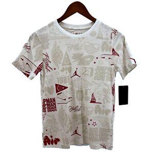 NWT Nike Boys sz M White Jordan Air Element All Over Print Tee T-Shirt 95A619