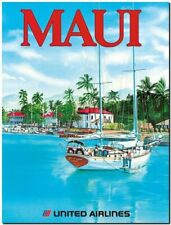 """Cool Retro Travel Poster CANVAS ART PRINT ~ Maui unted airlines 8""""X 10"""""""