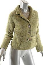"""BARNEYS NY """"Taste Luxury Humor"""" Avocado Tweed Wool Blend Crop Jacket Sz 46 US12"""