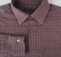 Ermenegildo Zegna Mens Large Purple Plaid Long Sleeve Cotton Blend Shirt L