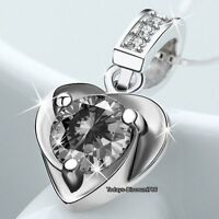 Silver Heart & Crystal Moon Necklace Love Xmas Jeweller Gifts For Her Wife Women