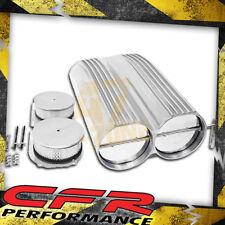 Chevy Ford Mopar Shotgun Style Aluminum Double Scoop Dual 4 Barrel - Finned