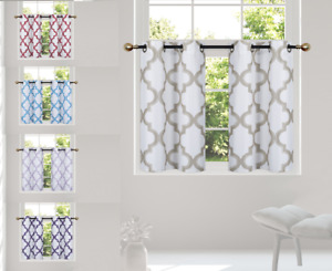 "2PC HALF WINDOW LINED CURTAIN PANEL GEOMETRIC PRINTED 30"" W X 36"" L (each)"