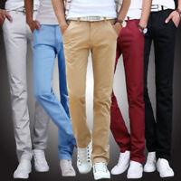 Men's Fashion Slim Fit Straight Leg Jeans Trousers Business Casual Pencil Pants