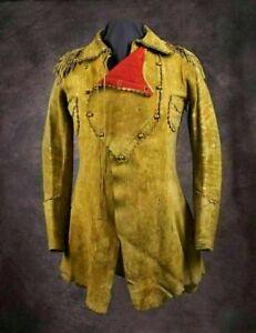 NATIVE AMERICAN WESTERN Men Handmade leather Buckskin Jacket Coat War shirt