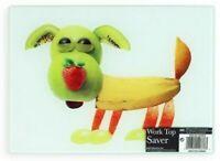 Brighten Your Kitchen 25cm Glass Chopping Board Worktop Saver Cute Dog Design