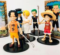 Anime One Piece Monkey D Luffy Zoro Sanji Sabo Ace Kid Figure Collectible Toys