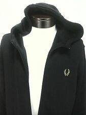 FRED PERRY MEN'S Track jacket Zip Up  BLACK Logo Gold Heavyweight Fabric Sz XL