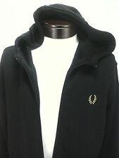 FRED PERRY MEN'S Track jacket Zip Up  BLACK Logo Gold Heavyweight Fabric Sz XL