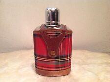 Vintage TARTANWARE Hip Flask PIGSKIN GLASS CHROME & CLOTH Scotland c. 1920s-50s