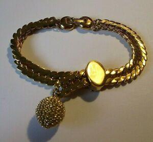 Unique Monet Double Strand S Link Slide Bracelet  Ball Charm  Fold Over Clasp