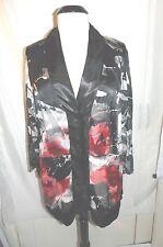 Susan Blake - Black, Red & White button front sheer top - Size 18