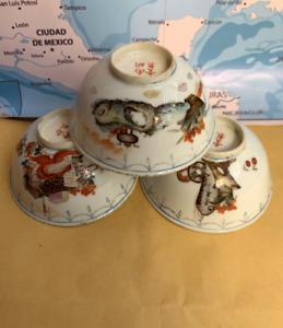SET OF 3 ANTIQUE CHINESE EXPORT FAMILLE ROSE PORCELAIN BOWLS