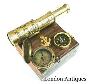 "Antique Compass Vintage Brass Chrome Nautical 2"" Inch Wooden Box Steampunk Retro"