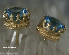 7mm Solid 14K Yellow Gold Blue Topaz Stud Earrings 2.50ct Premium Backs Gorgeous