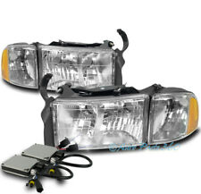 99-01 DODGE RAM 1500 SPORT CHROME HEADLIGHT W/CORNER TURN SIGNAL LAMP+6K HID KIT
