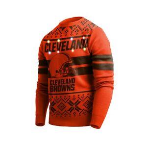 Cleveland Browns NFL Big Logo Light Up Sweater 5 Sizes FREE SHIP