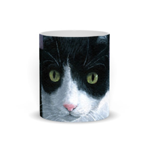 Coffee Mug Cup 11oz or 15oz Cat 577 Tuxedo cat art L.Dumas