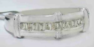THREE BAR-SET BAGUETTE DIAMONDS RING 14K WHITE GOLD ** NEW WITH TAG ** Size 10