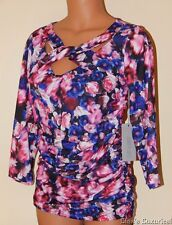 JLo Jennifer Lopez XS Women's Ruched Shirt Knotted Neckline Blurred Rose NWT $44