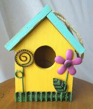 "Wooden Birdhouse Multicolor 5"" X 6"" X 2.5"" Indoor/Outdoor Garden Decor Cute"
