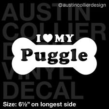 "6.5"" Puggle vinyl decal car window laptop sticker - dog breed rescue"