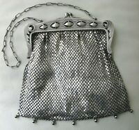 Antique German Silver Pierced Fancy Floral Frame 7 Tassel Chain Mail Purse BLISS