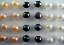 wholesale lot 40pcs 925 Silver Freshwater Pearl stud Earrings mix color