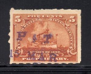 Scott # RB31p, Used, F, 5¢ Battleship, Park & Tilford, New York, NY