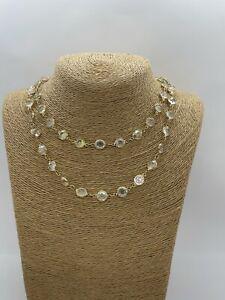Vintage Swarovski Long Necklace Glass Bezel Aurora Borealis