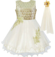 Flower Girls Dress Champagne Sparkling Lace Dress Pageant Age 4-10 Years Formal