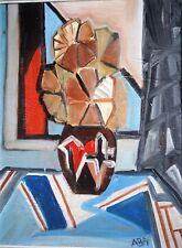 CUBISME-ECOLE DES BEAUX ARTS  DE TUNIS-ADEL BEN AMAR-FLEURS-TUNISIE-HUILE-