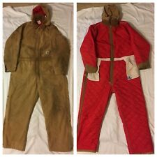 Carhartt WRECKED Tan Quilt Lined Insulated Mechanic Coveralls Jumpsuit Fit 40x30
