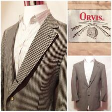 Orvis Mens VTG Blue Check Cotton Blazer Jacket Sports Coat Size 42R