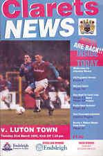 1994/95 BURNLEY V LUTON TOWN 21-03-1995 Division 1 (Very Good)