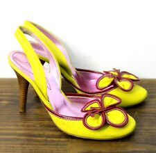 ETRO ITALY FLOWER YELLOW FABRIC GENUINE LEATHER SLINGBACK PUMPS PIN UP SHOES 7.5
